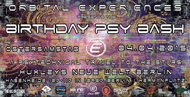 Party Flyer ORBITAL EXPERIENCES BIRTHDAY PSY BASH 2015 ENDLICH 18 4 Apr '15, 23:00