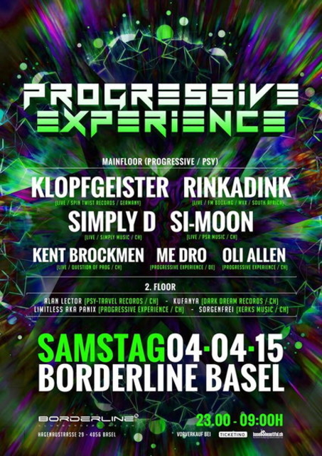 Party Flyer Progressive Experience with KLOPFGEISTER / RINKADINK / SIMPLY D / SI-MOON 4 Apr '15, 23:00