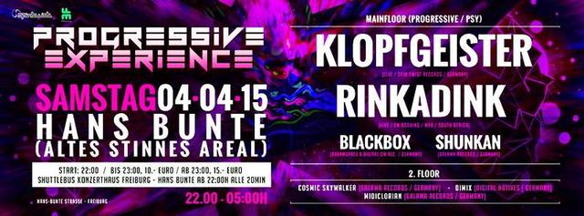 Party Flyer Rinkadink & Klopfgeister Live , in Freiburg 4 Apr '15, 22:00