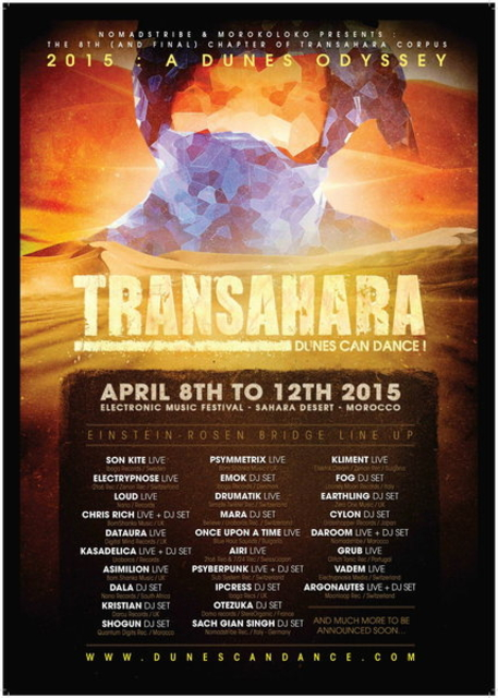 Party Flyer TRANSAHARA FESTIVAL 8 - 12 APRIL 2015, SAHARA DESERT, MOROCCO 8 Apr '15, 22:00