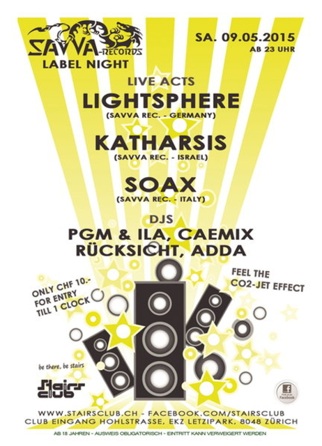 Party Flyer Savva Label Night at Stairs Club 9 May '15, 23:00