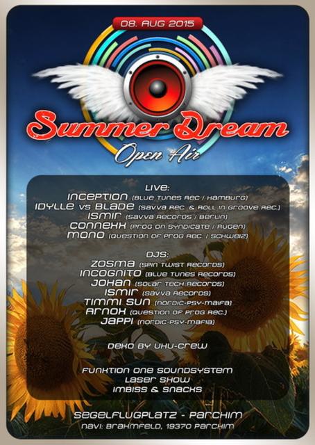 Party Flyer Summer Dream OA 2015 / Segelflugplatz Parchim 8 Aug '15, 18:00