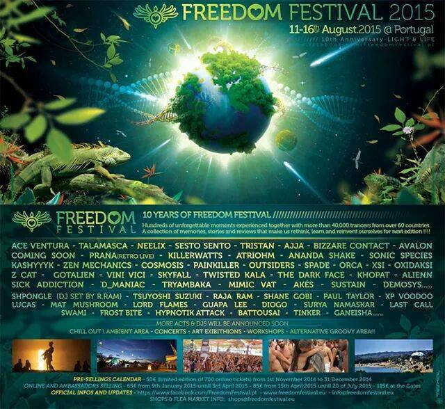 Party Flyer Freedom Festival 2015: Freedom is a State of Mind! 11-16.08.2015 Portugal 11 Aug '15, 22:00