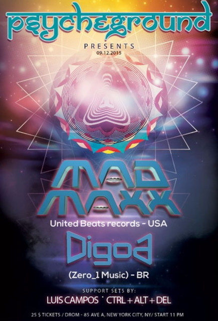 Party Flyer PsYcHeGrOuND Presents: Round 2 with MAD MAXX and DIGOA 12 Sep '15, 23:00