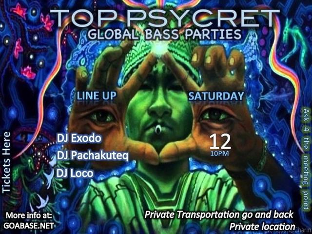Party Flyer TOP PSYCRET GLOBAL BASS PARTIES 3 12 Sep '15, 22:00