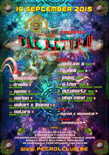Party Flyer VISIONS OF PARADISE / THE RETURN 19 Sep '15, 22:00