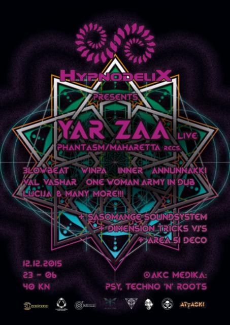 Party Flyer Hypnodelix w/ Yar Zaa @AKC Medika 12 Dec '15, 23:00