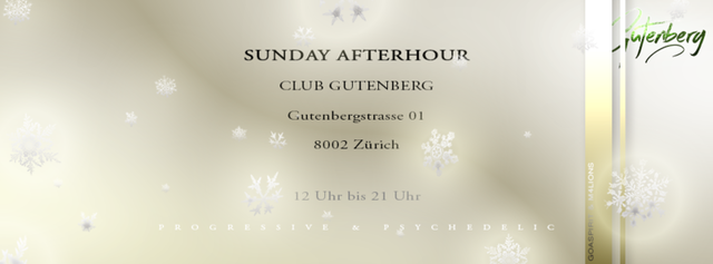 Party Flyer SUNDAY AFTERHOUR Club GUTENBERG in Zürich 13 Dec '15, 12:00