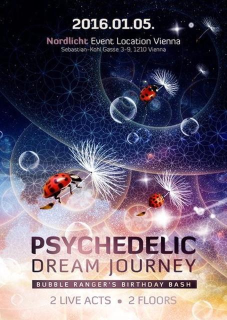 Party Flyer Psychedelic Dream Journey 2016 Birthday Bash 5 Jan '16, 22:00