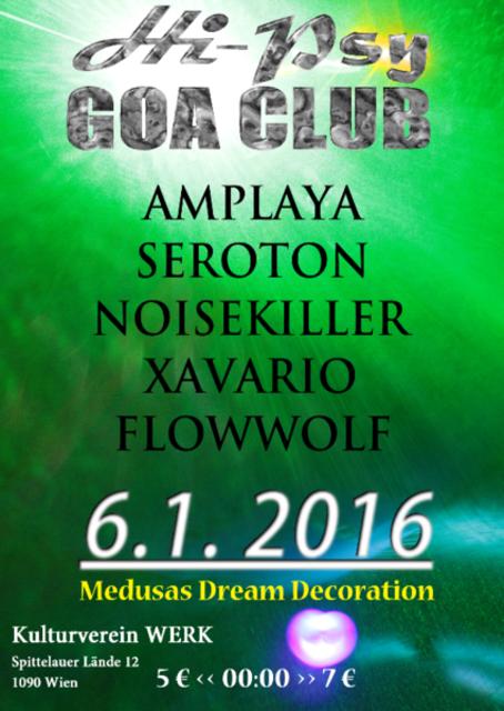 Party Flyer Hi-Psy GOA CLUB 6 Jan '16, 22:00