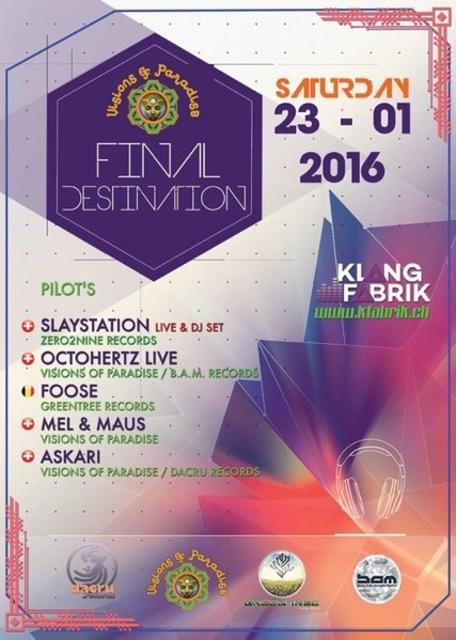 Party Flyer Visions Of Paradise / Final Destination 23 Jan '16, 22:00