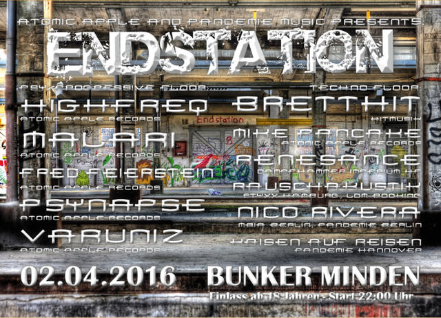 Party Flyer ATOMIC APPLE & PANDEMIE MUSIC PRESENTS: ENDSTATION VOL.1 2 Apr '16, 22:00