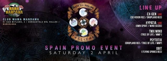 Party Flyer Presentacion BACK TO NATURE FESTIVAL@MANDAWA 2 Apr '16, 23:30