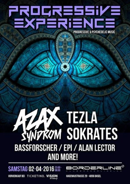 Party Flyer Progressive Experience with AZAX SYNDROM / TEZLA / SOKRATES 2 Apr '16, 23:00