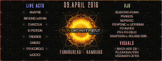 Party Flyer Sun Department Label Night 9 Apr '16, 22:00