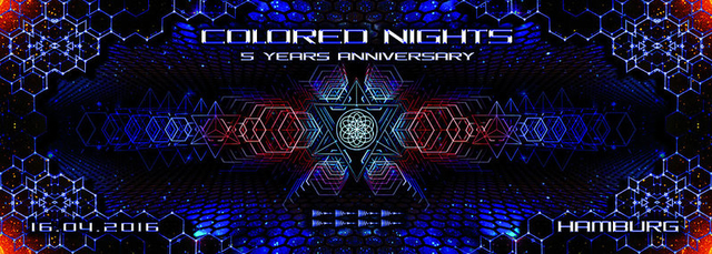 Party Flyer Colored Nights 5 Years Anniversary 16 Apr '16, 22:00