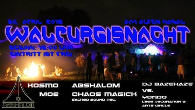Party Flyer Walpurgisnacht ' KOSMO, MOE, DJbazehaze vs. Yondo, ABSHALOM, CHAOS MAGICK ' 30 Apr '16, 18:00