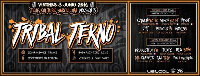 Party Flyer 03/06 ★ Teuf Kulture Party ★ Tribal Tekno ★ Special Guest: Keygen Kaotic · Simo 3 Jun '16, 23:30