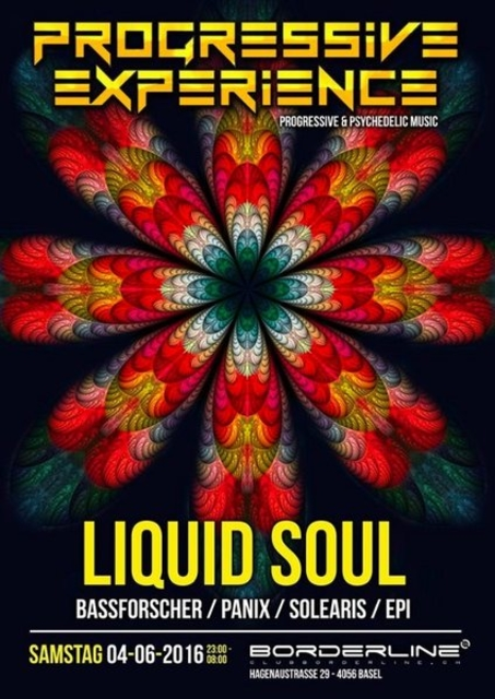 Party Flyer Progressive Experience with Liquid Soul 4 Jun '16, 23:00