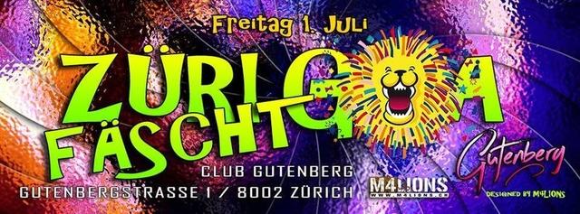Party Flyer Züri Fäscht Goa // Friday 01th July'16 // Gutenberg 1 Jul '16, 23:00