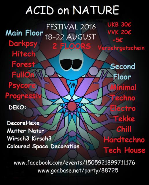 Party Flyer ACIDonNATURE Festival 2016 (LunaTik B-DAY) 2 Floors 1 Sep '16, 13:00