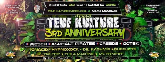 Party Flyer 23/09 ★ 3rd Anniversary Teuf Kulture Barcelona ★ Special Guests: Weser · Asphalt 23 Sep '16, 23:30
