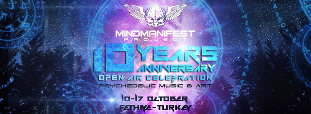 Party Flyer Mind Manifest Project 10 Years Anniversary Open Air Celebration 10 Oct '16, 12:00