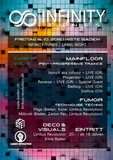 Party Flyer Cubeat Vol. 9 ∞ Infinity-Tunes Labelnight ∞ 14 Oct '16, 23:00