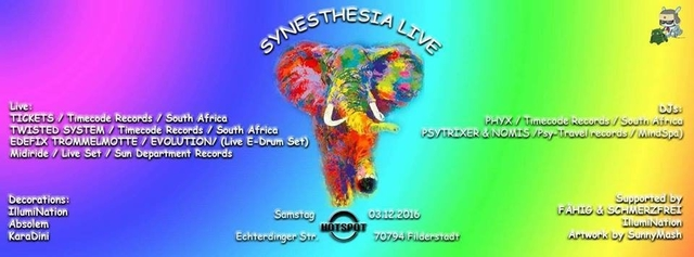 Party Flyer SYNESTHESIA LIVE 3 Dec '16, 22:00