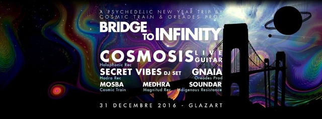 Party Flyer Bridge to Infinity a psychedelic new year trip 31 Dec '16, 22:30