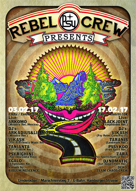 Party Flyer ★ ★ ★ PSY REBEL CREW Present's: pure psychedelic ★ ★ ★ 17 Feb '17, 23:00