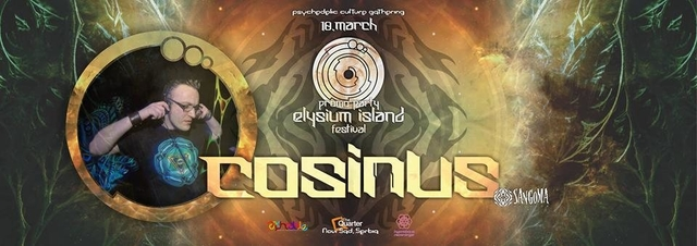Party Flyer Elysium Island Festival meets Cosinus (Sangoma records) 10 Mar '17, 22:00