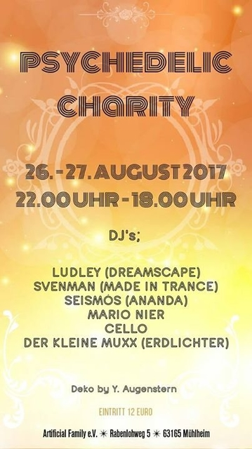Party Flyer Psychedelic Charity 26 Aug '17, 22:00