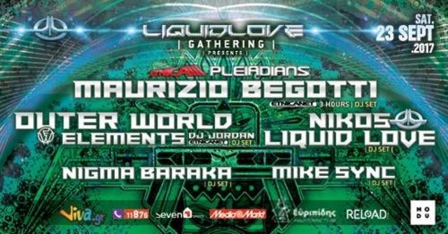 Party Flyer Liquid Love : Maurizio Begotti - Etnica/Pleiadians & more 23 Sep '17, 23:59