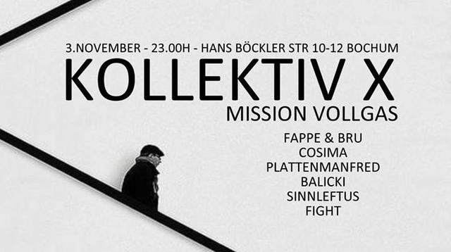 Party Flyer Kollektiv X - Mission Vollgas 3 Nov '17, 23:00