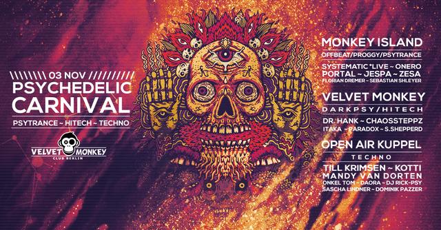 Party Flyer Psychedelic Carnival w/ Systematic , Onero , Portal 3 Nov '17, 23:00