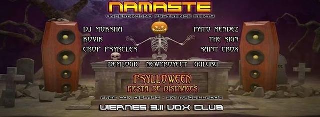Party Flyer Vier 3/11 Namaste presenta Psylloween. Entrada Free c/Disfraz! 3 Nov '17, 23:59
