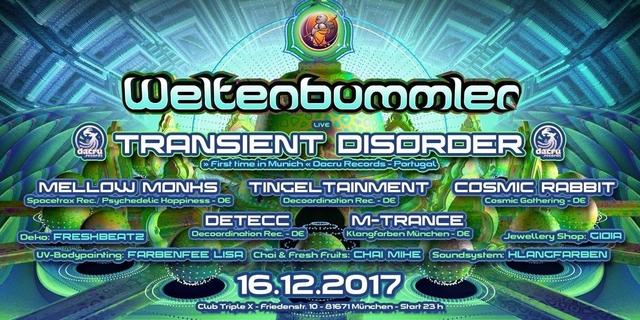 Party Flyer Weltenbummler with TRANSIENST DISORDER (live) 16 Dec '17, 23:00