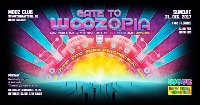 Party Flyer Gate to WOOZopia - New Year's Eve 31 Dec '17, 21:00