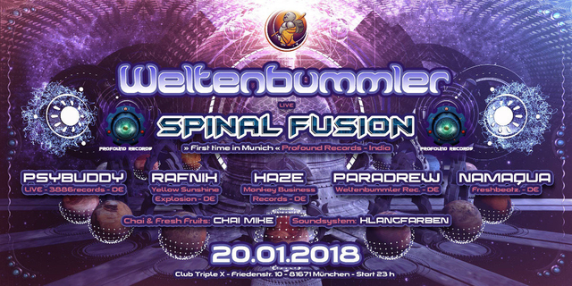 Party Flyer Weltenbummler with Spinal Fusion (live) // India 20 Jan '18, 23:00