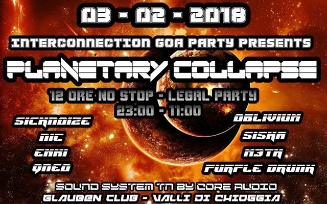 Party Flyer INTERCONNECTION GOA PARTY - PLANETARY COLLAPSE 12h NO STOP!!! 3 Feb '18, 23:00
