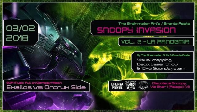 Party Flyer Snoopy Invasion - VOL. 2: La Pandemia 3 Feb '18, 22:00