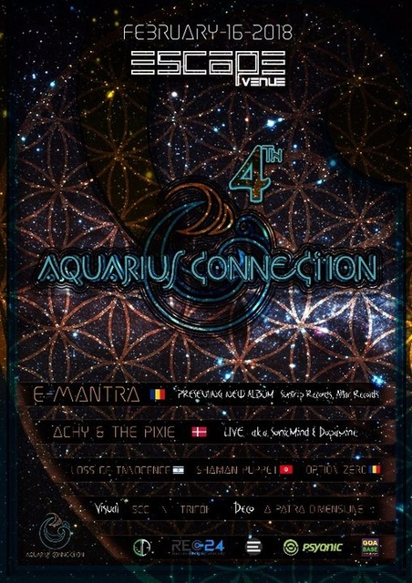 Party Flyer Aquarius Connection 4   E - Mantra ॐ 16 Feb '18, 23:00