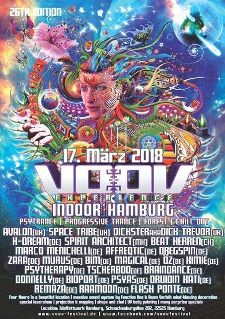 Party Flyer VooV Indoor Hamburg mit Avalon, Space Tribe uvm. 17 Mar '18, 22:00