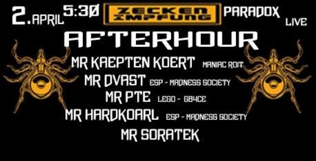 Party Flyer Afterhour presents by ZeckenImpfung 2 Apr '18, 05:30