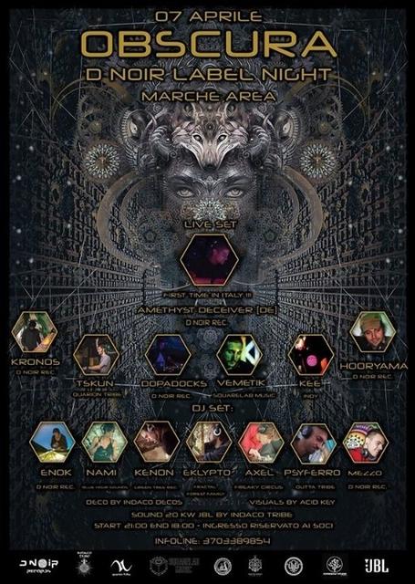 Party Flyer Obscura - D noir Label night 7 Apr '18, 22:00
