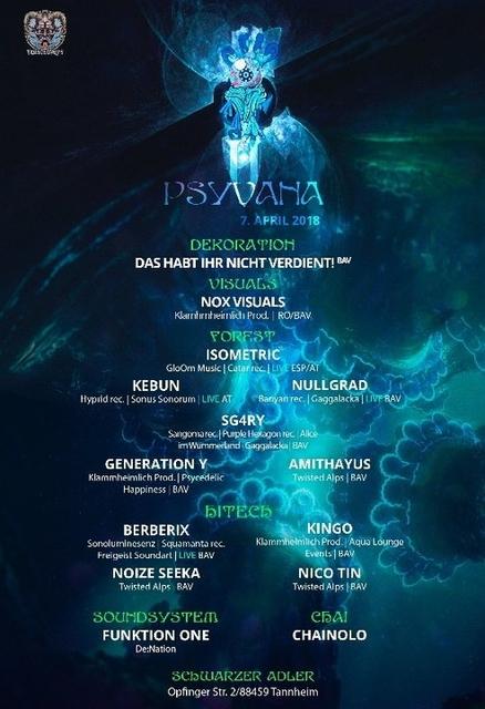 Party Flyer Psyvana II w/F1 7 Apr '18, 22:00
