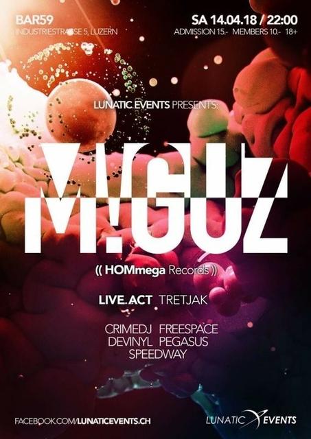 Party Flyer Lunatic Night mit M!GUZ 14 Apr '18, 22:00