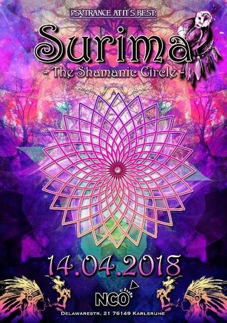 Party Flyer ๑ Surima - The Shamanic Circle ๑ w/ TaktTrauma & Mutterkorn uvm. 14 Apr '18, 22:00