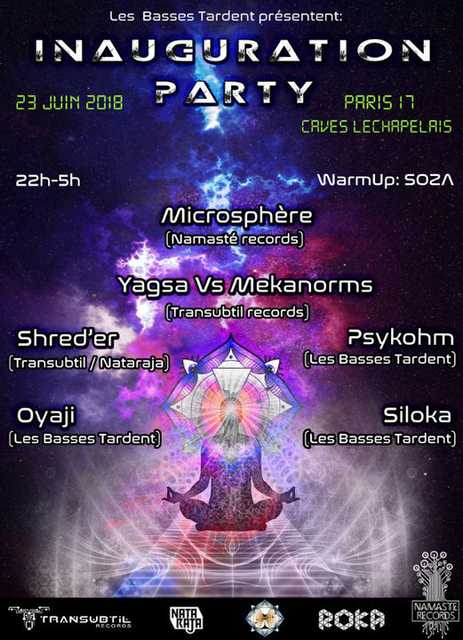 Party Flyer Inauguration Party by Les Basses Tardent 23 Jun '18, 22:00